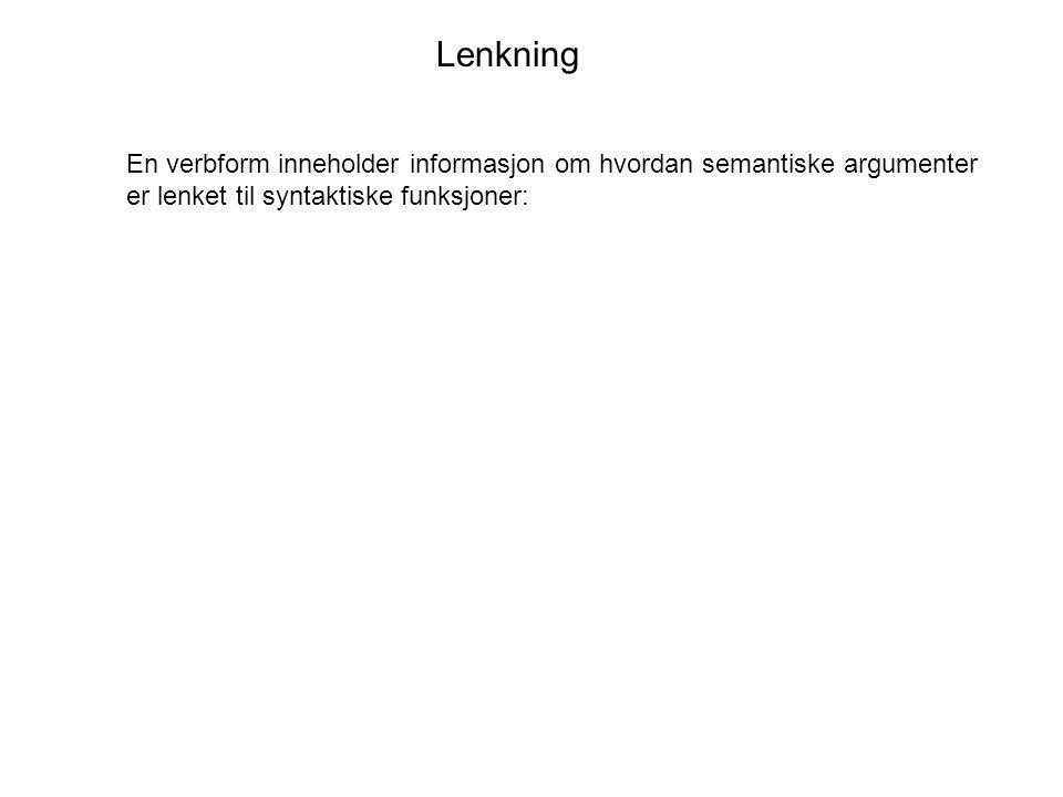 Lenkning En verbform inneholder informasjon om hvordan semantiske argumenter er lenket til syntaktiske funksjoner:
