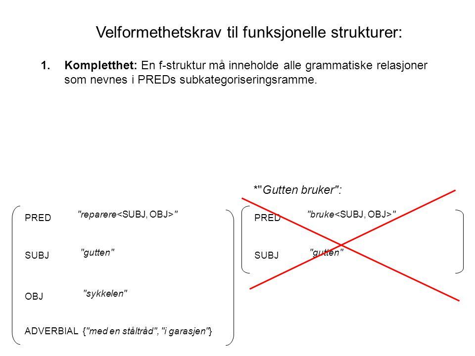 Velformethetskrav til funksjonelle strukturer: SUBJ PRED OBJ ADVERBIAL gutten sykkelen { med en ståltråd , i garasjen } reparere 1.Kompletthet: En f-struktur må inneholde alle grammatiske relasjoner som nevnes i PREDs subkategoriseringsramme.