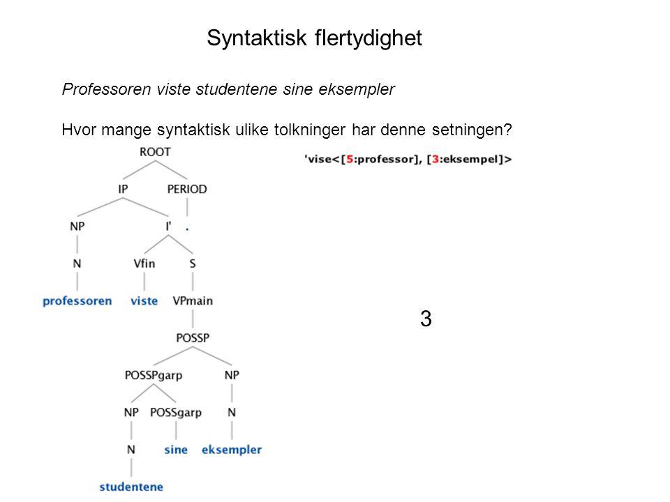 Syntaktisk flertydighet Professoren viste studentene sine eksempler Hvor mange syntaktisk ulike tolkninger har denne setningen.