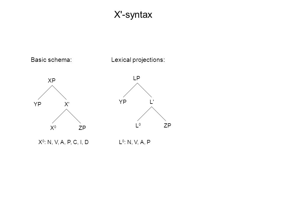 XP X X0X0 YP ZP LP L L0L0 YP ZP X -syntax X 0 : N, V, A, P, C, I, DL 0 : N, V, A, P Basic schema:Lexical projections: