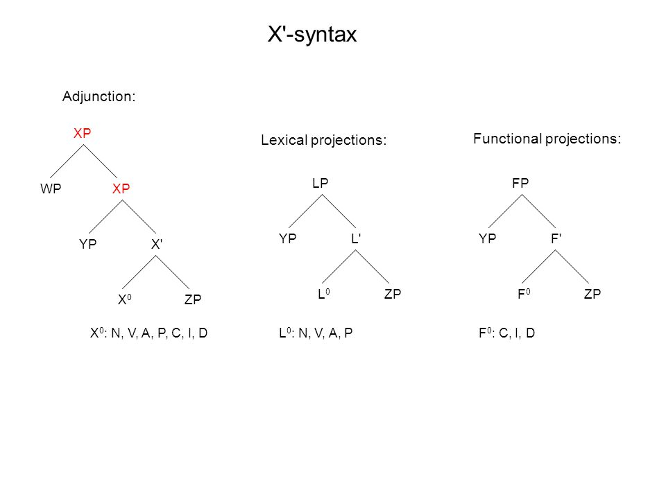 XP X X0X0 YP ZP LP L L0L0 YP ZP FP F F0F0 YP ZP X -syntax X 0 : N, V, A, P, C, I, DL 0 : N, V, A, PF 0 : C, I, D Adjunction: Lexical projections: Functional projections: XP WP