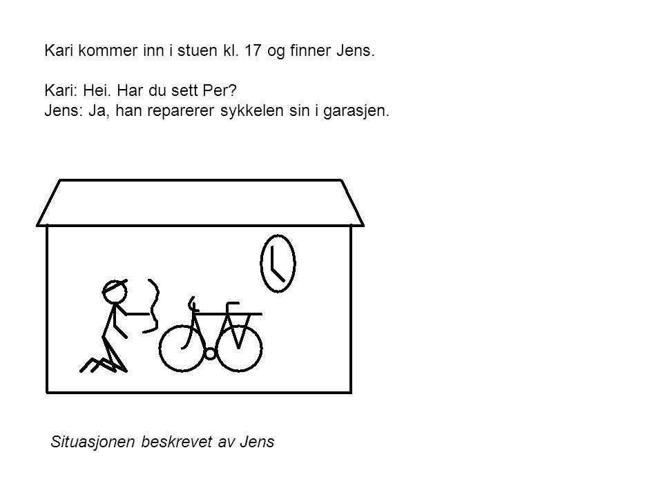 Kari kommer inn i stuen kl. 17 og finner Jens. Kari: Hei.