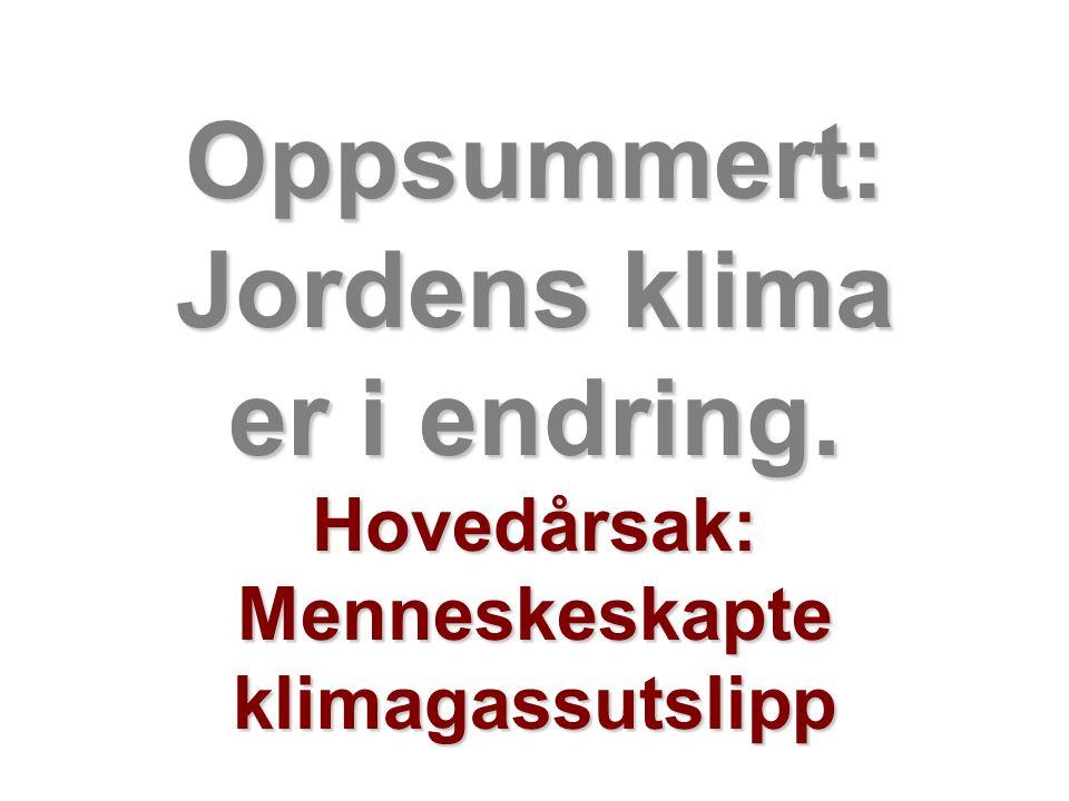 Helge Drange Geofysisk institutt Universitetet i Bergen Oppsummert: Jordens klima er i endring. Hovedårsak: Menneskeskapte klimagassutslipp
