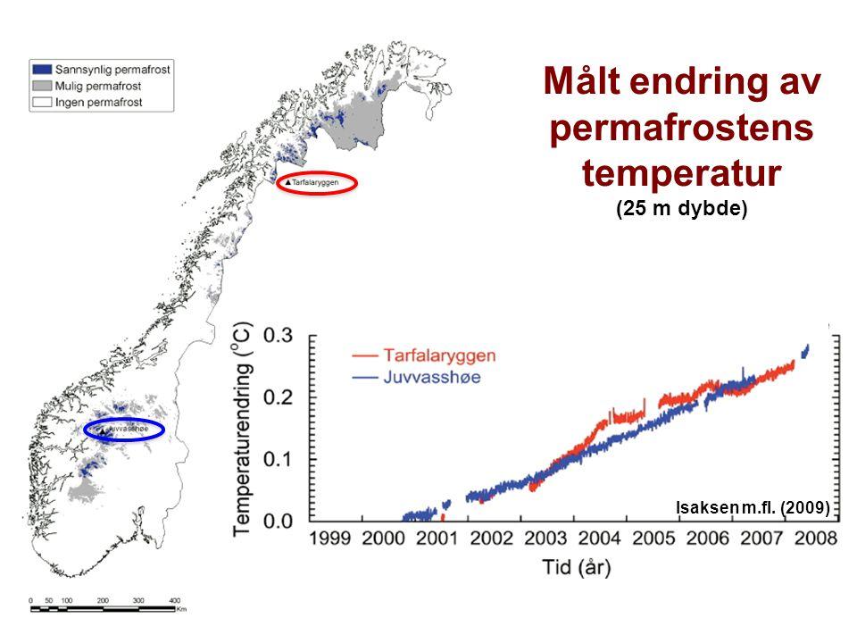 Målt endring av permafrostens temperatur (25 m dybde) Isaksen m.fl. (2009)