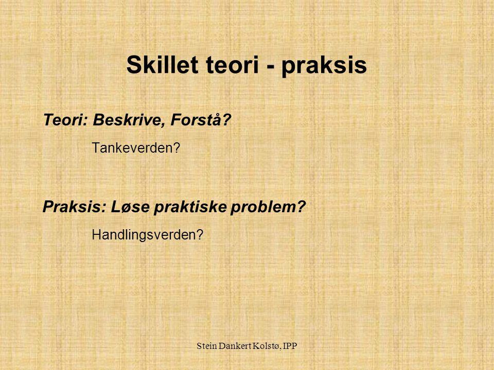 Stein Dankert Kolstø, IPP Hva menes med å integrere teori og praksis .