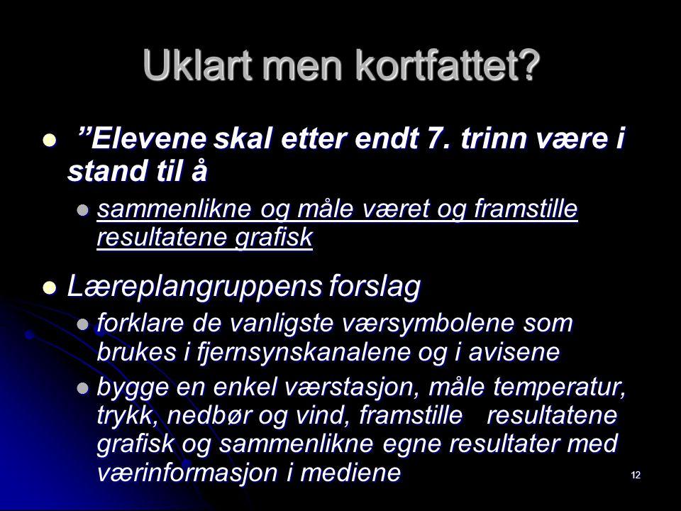 """12 Uklart men kortfattet? """"Elevene skal etter endt 7. trinn være i stand til å """"Elevene skal etter endt 7. trinn være i stand til å sammenlikne og mål"""