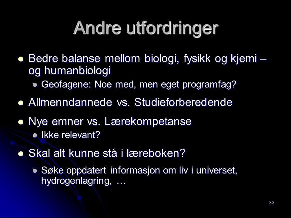 30 Andre utfordringer Bedre balanse mellom biologi, fysikk og kjemi – og humanbiologi Bedre balanse mellom biologi, fysikk og kjemi – og humanbiologi