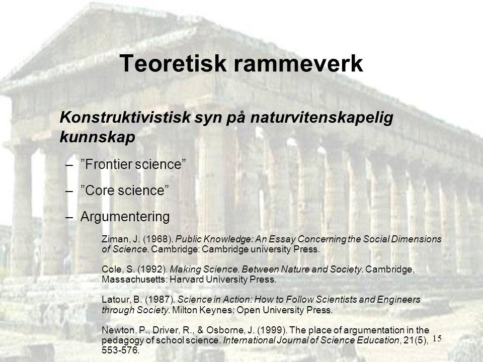 "15 Teoretisk rammeverk Konstruktivistisk syn på naturvitenskapelig kunnskap –""Frontier science"" –""Core science"" –Argumentering Ziman, J. (1968). Publi"