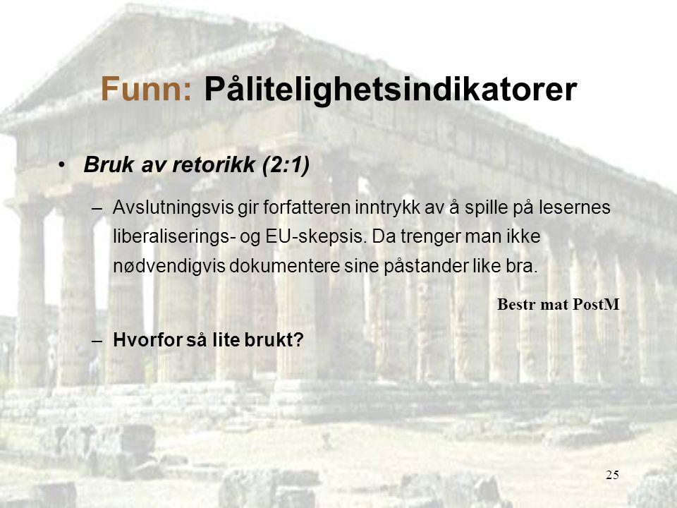 25 Funn: Pålitelighetsindikatorer Bruk av retorikk (2:1) –Avslutningsvis gir forfatteren inntrykk av å spille på lesernes liberaliserings- og EU-skeps