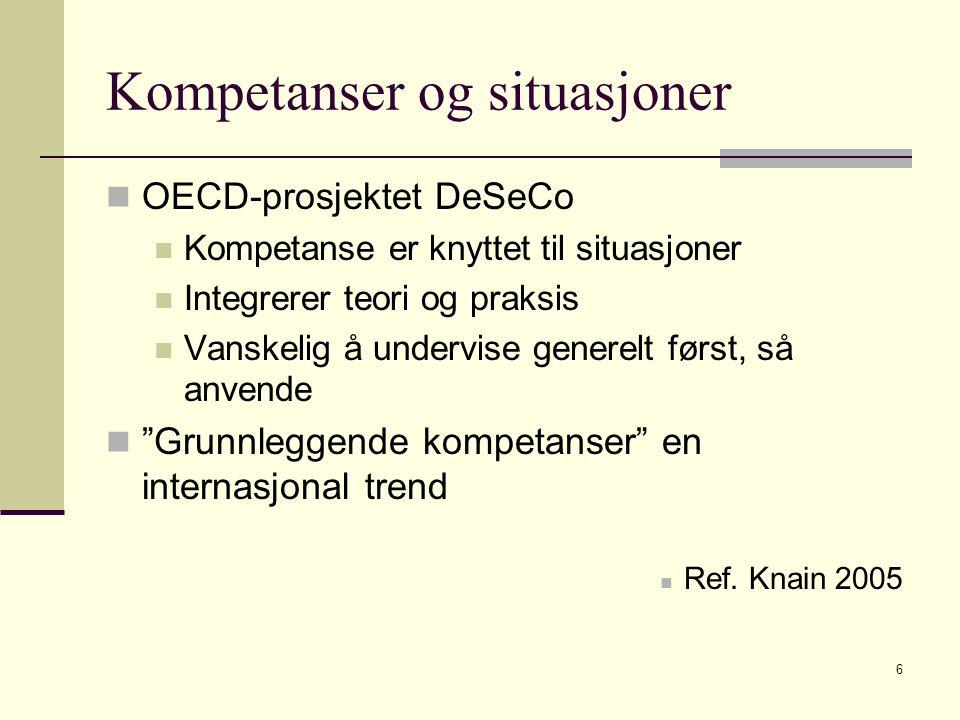6 Kompetanser og situasjoner OECD-prosjektet DeSeCo Kompetanse er knyttet til situasjoner Integrerer teori og praksis Vanskelig å undervise generelt først, så anvende Grunnleggende kompetanser en internasjonal trend Ref.