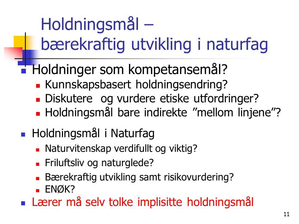 11 Holdningsmål – bærekraftig utvikling i naturfag Holdninger som kompetansemål.