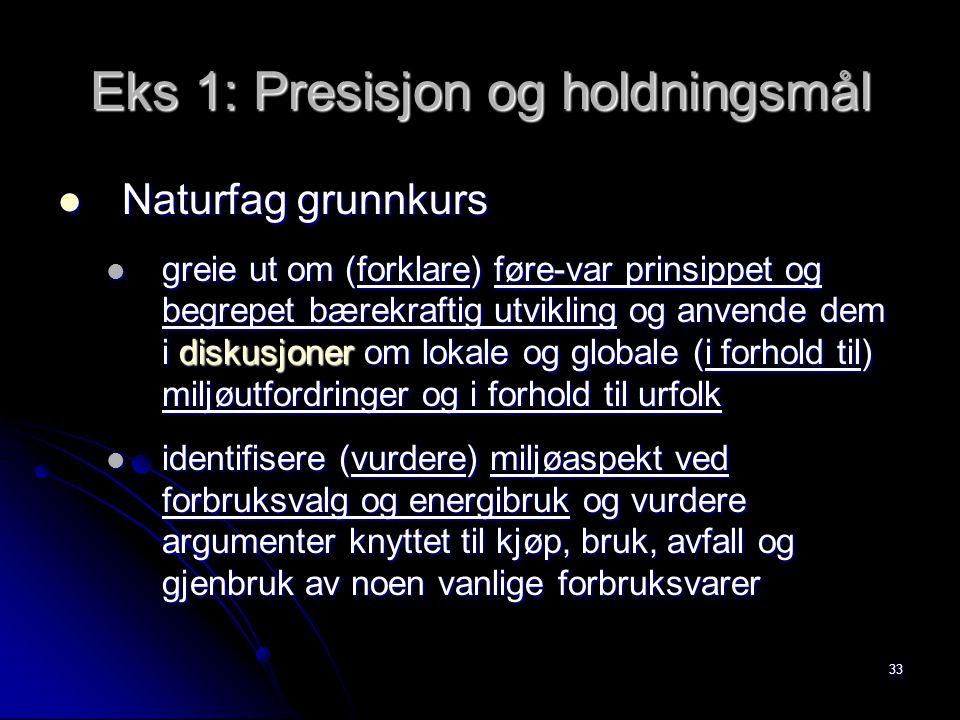 33 Eks 1: Presisjon og holdningsmål Naturfag grunnkurs Naturfag grunnkurs greie ut om (forklare) føre-var prinsippet og begrepet bærekraftig utvikling