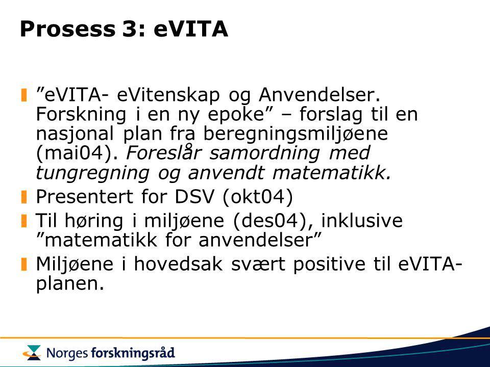 Prosess 3: eVITA eVITA- eVitenskap og Anvendelser.