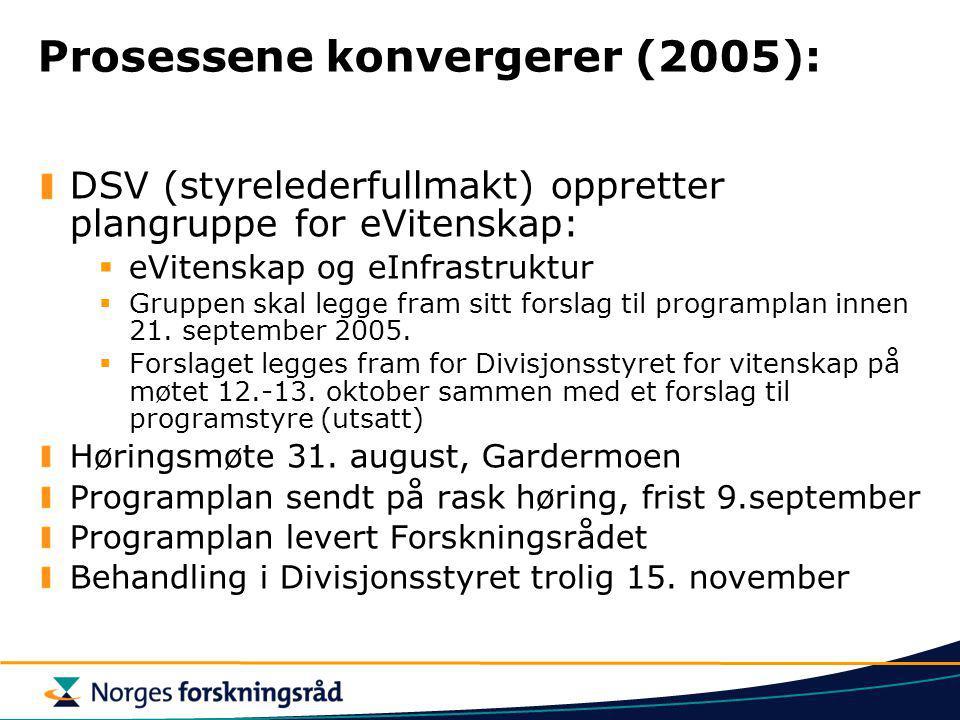 Prosessene konvergerer (2005): DSV (styrelederfullmakt) oppretter plangruppe for eVitenskap:  eVitenskap og eInfrastruktur  Gruppen skal legge fram sitt forslag til programplan innen 21.