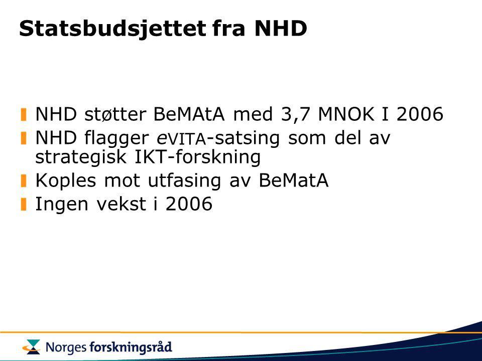 Statsbudsjettet fra NHD NHD støtter BeMAtA med 3,7 MNOK I 2006 NHD flagger e VITA -satsing som del av strategisk IKT-forskning Koples mot utfasing av BeMatA Ingen vekst i 2006
