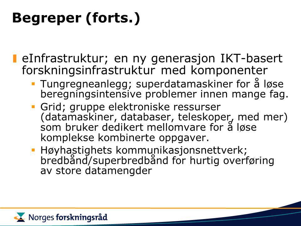 Begreper (forts.) eInfrastruktur; en ny generasjon IKT-basert forskningsinfrastruktur med komponenter  Tungregneanlegg; superdatamaskiner for å løse beregningsintensive problemer innen mange fag.