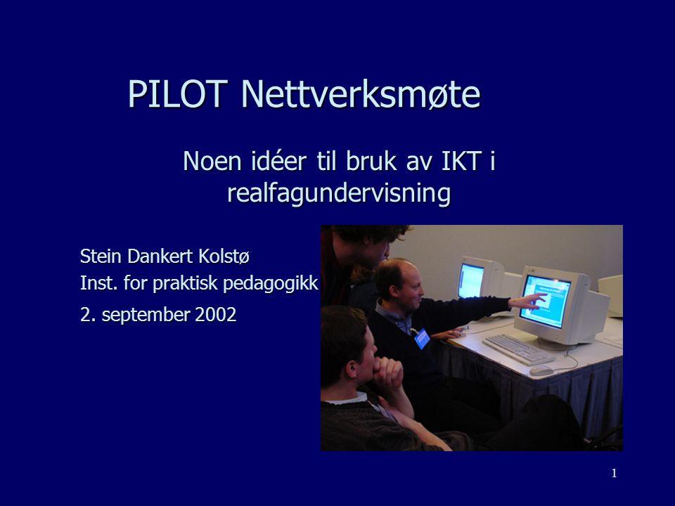 1 PILOT Nettverksmøte Noen idéer til bruk av IKT i realfagundervisning Stein Dankert Kolstø Inst.