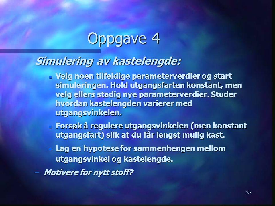25 Oppgave 4 Simulering av kastelengde: n Velg noen tilfeldige parameterverdier og start simuleringen.