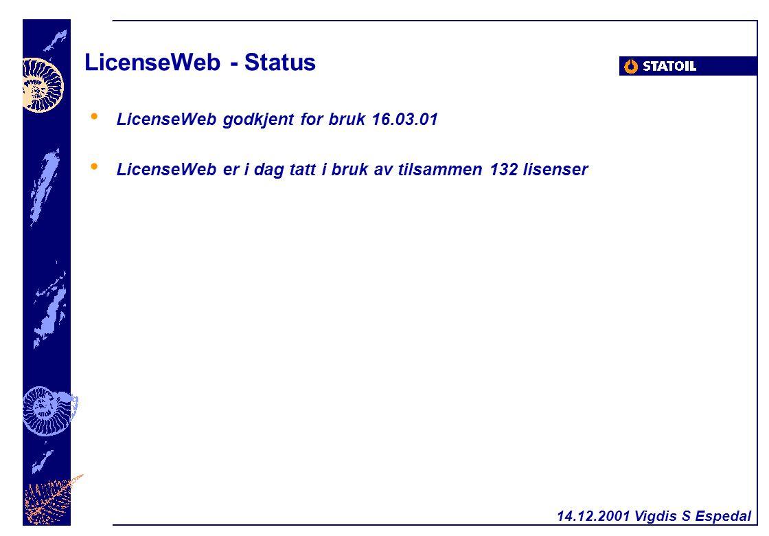 14.12.2001 Vigdis S Espedal LicenseWeb - Status LicenseWeb godkjent for bruk 16.03.01 LicenseWeb er i dag tatt i bruk av tilsammen 132 lisenser
