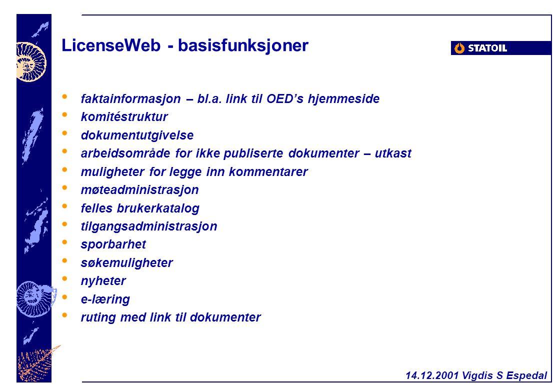 LicenseWeb - basisfunksjoner faktainformasjon – bl.a. link til OED's hjemmeside komitéstruktur dokumentutgivelse arbeidsområde for ikke publiserte dok
