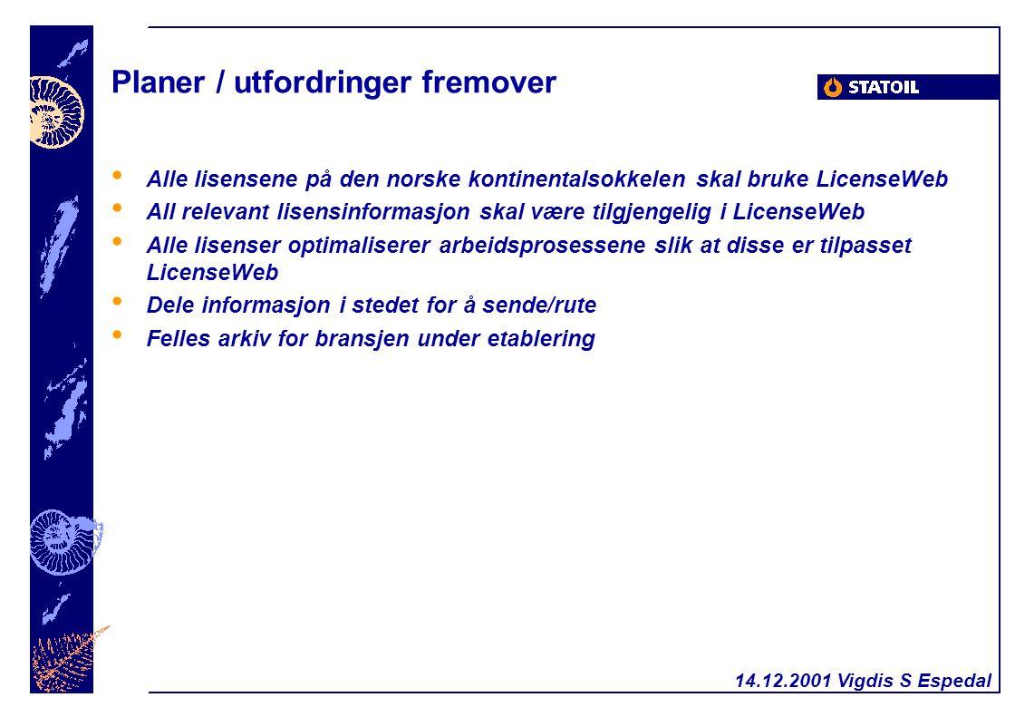 Planer / utfordringer fremover Alle lisensene på den norske kontinentalsokkelen skal bruke LicenseWeb All relevant lisensinformasjon skal være tilgjengelig i LicenseWeb Alle lisenser optimaliserer arbeidsprosessene slik at disse er tilpasset LicenseWeb Dele informasjon i stedet for å sende/rute Felles arkiv for bransjen under etablering