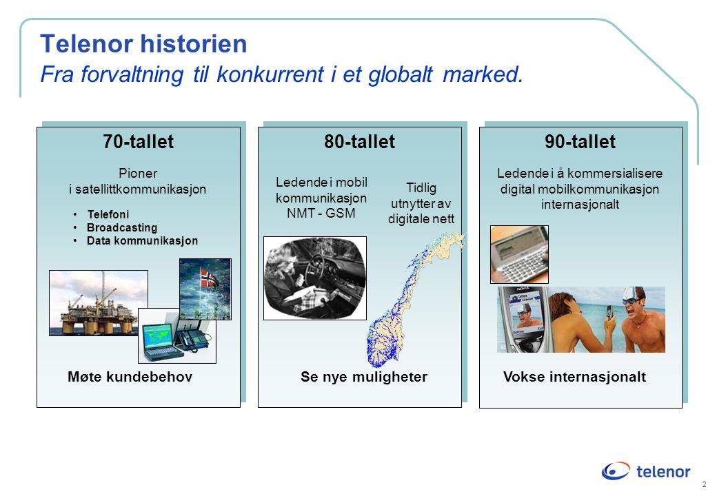2 Telenor historien Fra forvaltning til konkurrent i et globalt marked. 70-tallet Pioner i satellittkommunikasjon 70-tallet Pioner i satellittkommunik