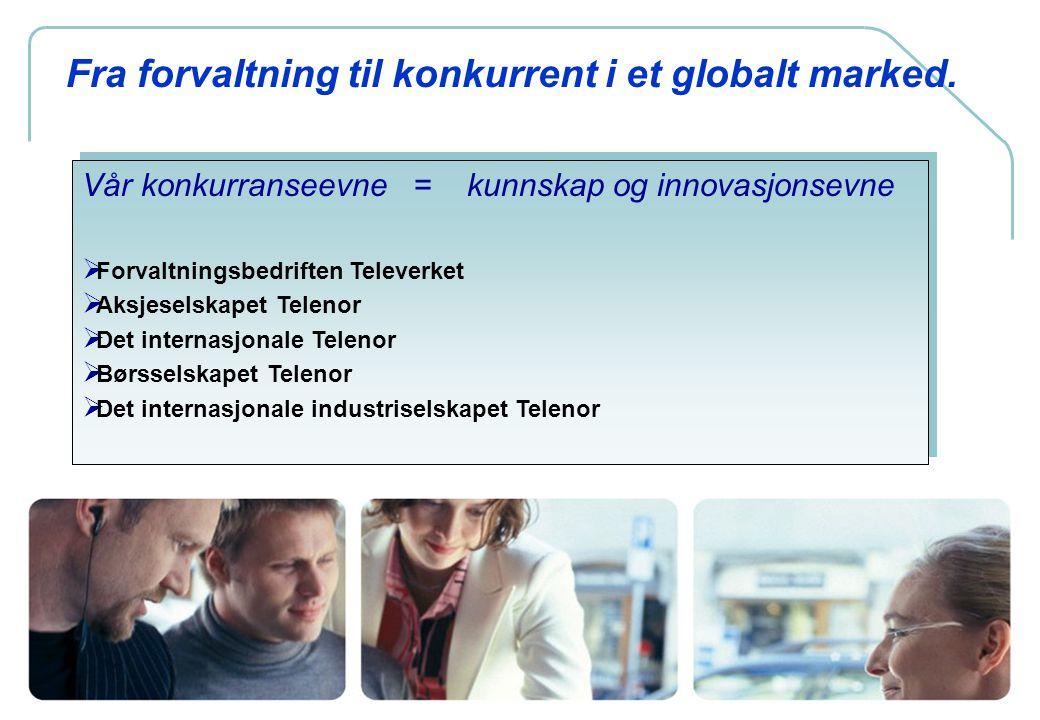 3 Fra forvaltning til konkurrent i et globalt marked. Vår konkurranseevne = kunnskap og innovasjonsevne  Forvaltningsbedriften Televerket  Aksjesels
