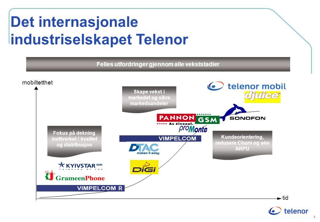 4 Det internasjonale industriselskapet Telenor Felles utfordringer gjennom alle vekststadier mobiltetthet Fokus på dekning inettverket / kvalitet og d