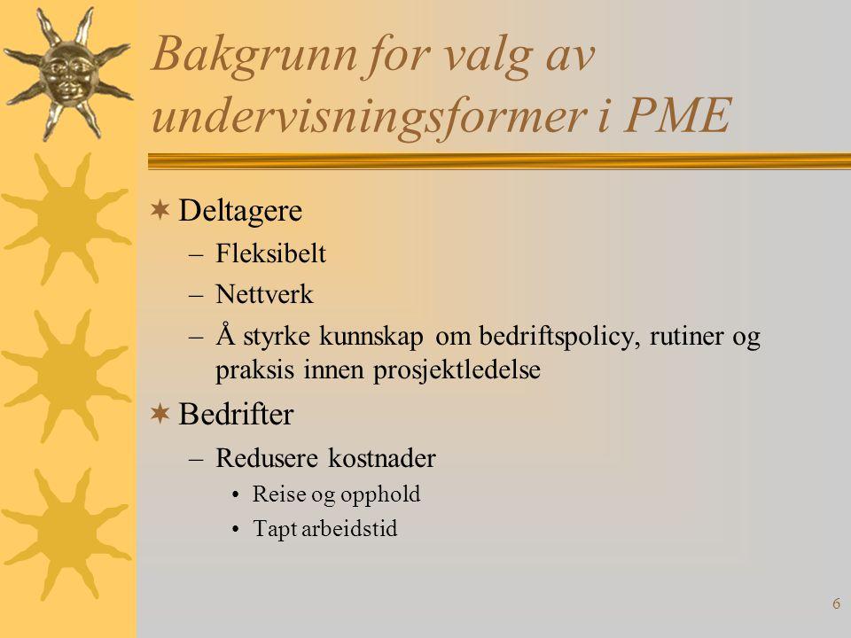 7 PME Den hybride form  Nærundervisning (fysiske samlinger)  Fjernundervisning (virtuelle samlinger)  Prosjektarbeid  Bedriftsdag