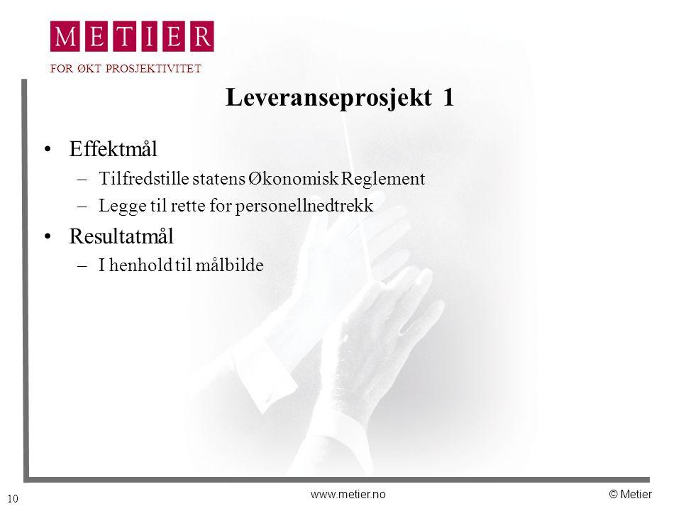 10 www.metier.no© Metier FOR ØKT PROSJEKTIVITET Leveranseprosjekt 1 Effektmål –Tilfredstille statens Økonomisk Reglement –Legge til rette for personel