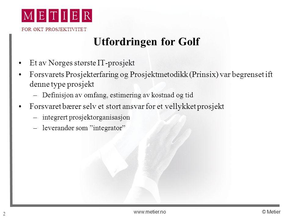 2 www.metier.no© Metier FOR ØKT PROSJEKTIVITET Utfordringen for Golf Et av Norges største IT-prosjekt Forsvarets Prosjekterfaring og Prosjektmetodikk