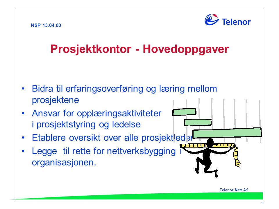 NSP 13.04.00 Telenor Nett AS 10 Prosjektkontor - Hovedoppgaver Bidra til erfaringsoverføring og læring mellom prosjektene Ansvar for opplæringsaktivit