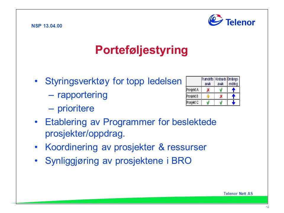 NSP 13.04.00 Telenor Nett AS 12 Porteføljestyring Styringsverktøy for topp ledelsen –rapportering –prioritere Etablering av Programmer for beslektede