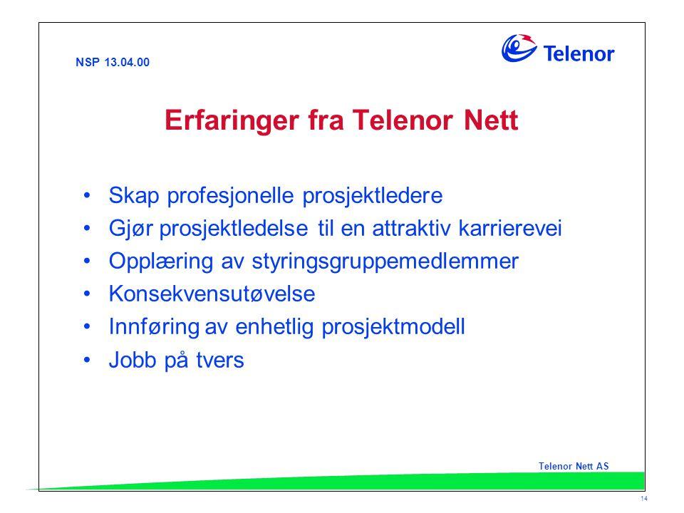 NSP 13.04.00 Telenor Nett AS 14 Erfaringer fra Telenor Nett Skap profesjonelle prosjektledere Gjør prosjektledelse til en attraktiv karrierevei Opplær