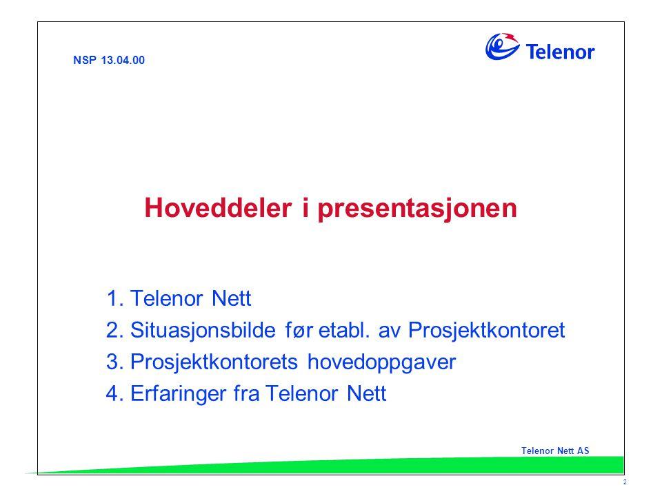 NSP 13.04.00 Telenor Nett AS 2 Hoveddeler i presentasjonen 1. Telenor Nett 2. Situasjonsbilde før etabl. av Prosjektkontoret 3. Prosjektkontorets hove