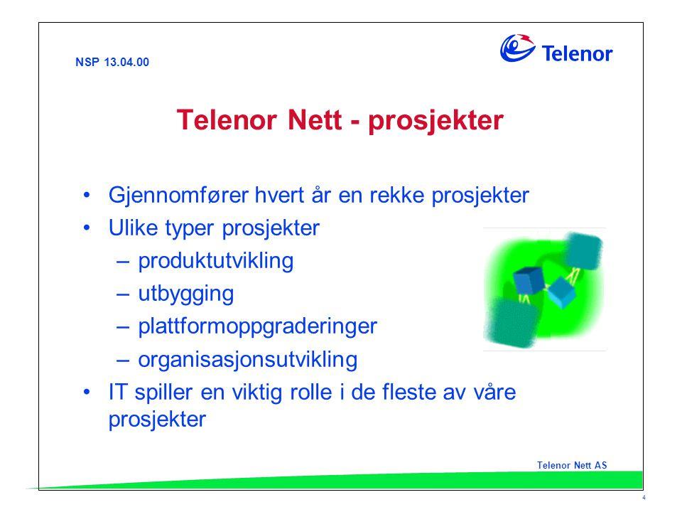 NSP 13.04.00 Telenor Nett AS 4 Telenor Nett - prosjekter Gjennomfører hvert år en rekke prosjekter Ulike typer prosjekter –produktutvikling –utbygging