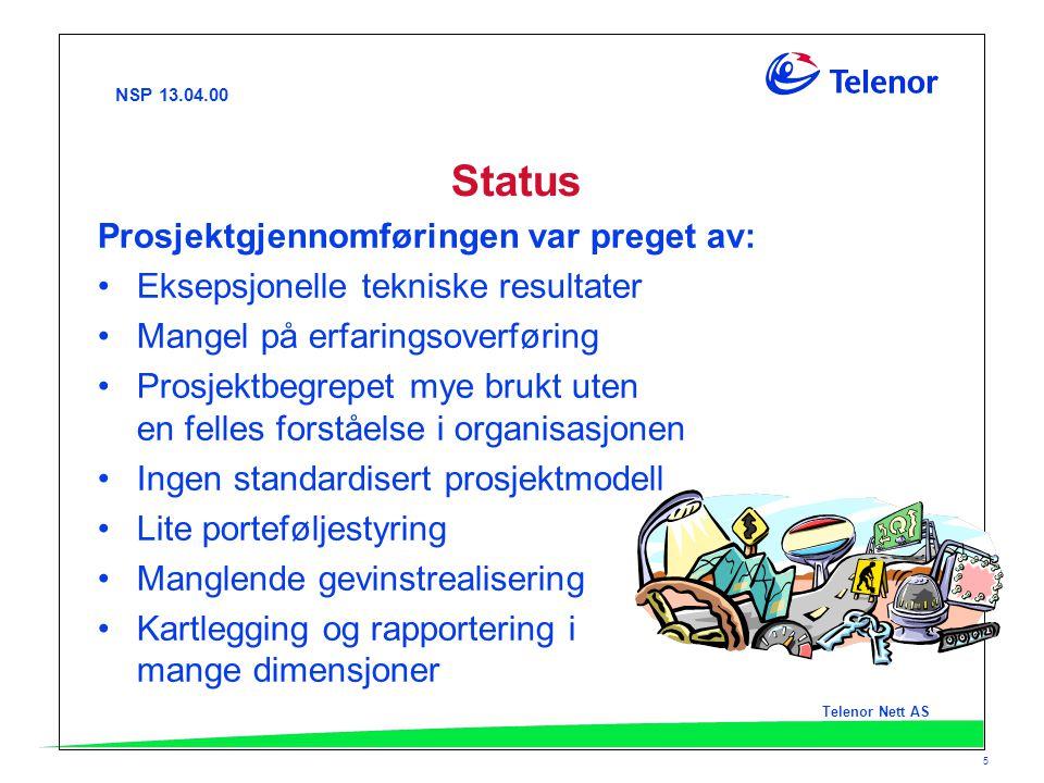 NSP 13.04.00 Telenor Nett AS 5 Status Prosjektgjennomføringen var preget av: Eksepsjonelle tekniske resultater Mangel på erfaringsoverføring Prosjektb
