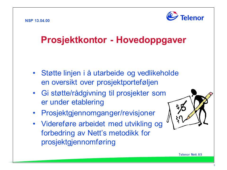 NSP 13.04.00 Telenor Nett AS 9 Prosjektkontor - Hovedoppgaver Støtte linjen i å utarbeide og vedlikeholde en oversikt over prosjektporteføljen Gi støt
