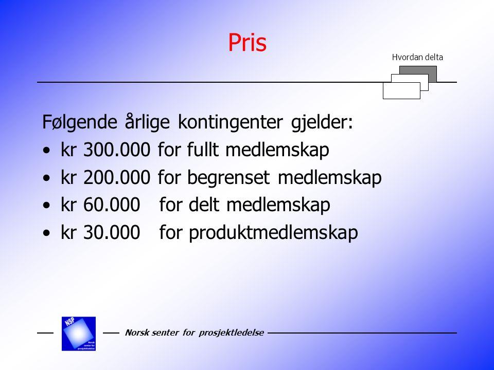 Norsk senter for prosjektledelse Pris Følgende årlige kontingenter gjelder: kr 300.000 for fullt medlemskap kr 200.000 for begrenset medlemskap kr 60.000 for delt medlemskap kr 30.000 for produktmedlemskap Hvordan delta