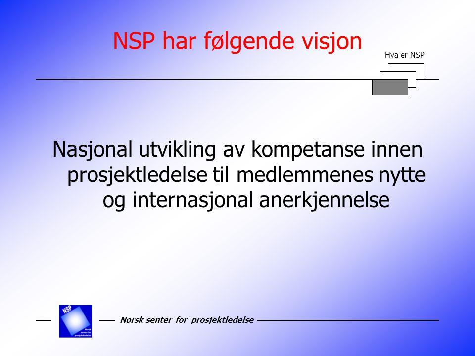 NSP har følgende visjon Nasjonal utvikling av kompetanse innen prosjektledelse til medlemmenes nytte og internasjonal anerkjennelse Hva er NSP