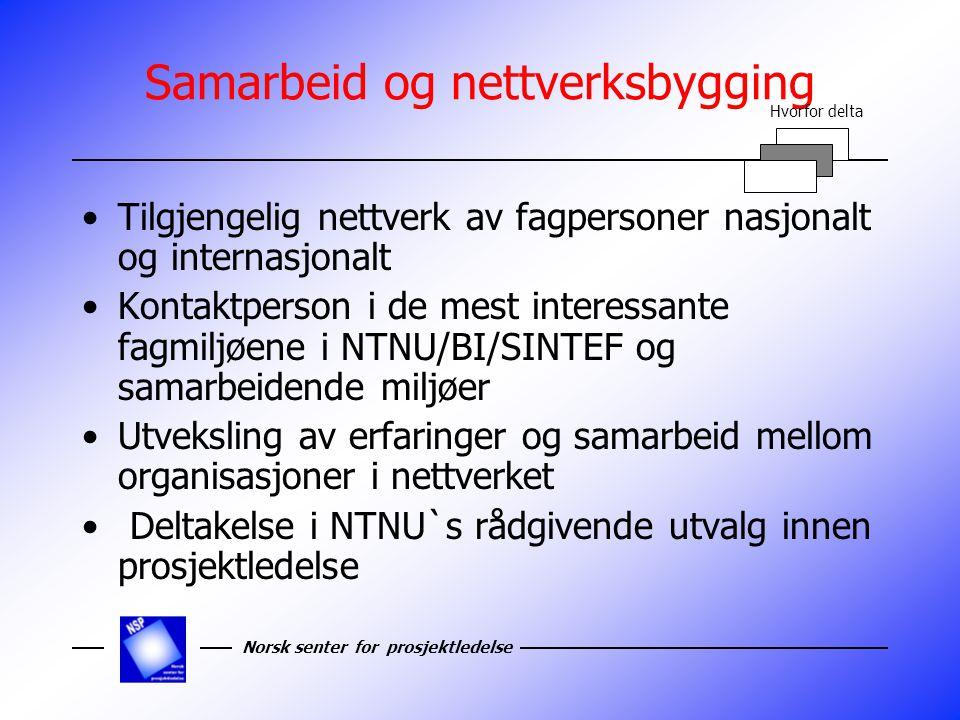 Norsk senter for prosjektledelse Forskning og kompetanse utvikling Tilgang på spisskompetanse innen prosjektledelse Initiering og deltakelse i forsknings- og utviklings prosjekter Effektivisering av prosjektgjennomføring Mulighet for hovedoppgaver gjennomført i medlemmenes organisasjoner og prosjekter Hvorfor delta