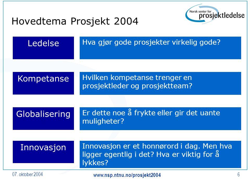 07. oktober 2004 www.nsp.ntnu.no/prosjekt2004 6 Hovedtema Prosjekt 2004 Ledelse Kompetanse Innovasjon Globalisering Hva gjør gode prosjekter virkelig