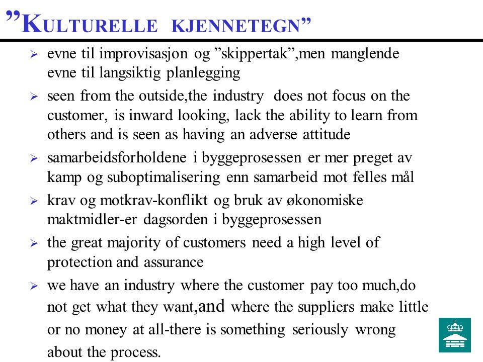 S PESIELLE F ORHOLD  skreddersydd ordreproduksjon  ad hoc produksjonsapparat  stort antall aktører  konkurranse / ikke konkurranse  (kun) innsatsfaktor i annen verdikjede  få krevende kunder.