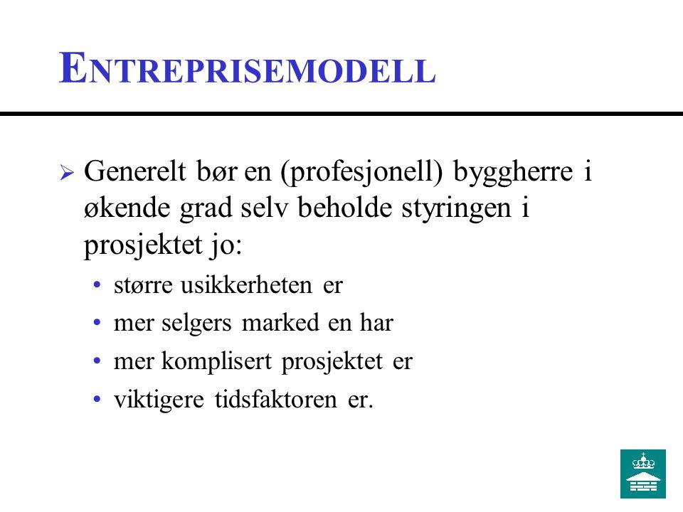 V ALG ENTREPRISEMODELL  Viktige vurderingskriterier egen organisasjon markedssituasjon prosjektkarakteristika.