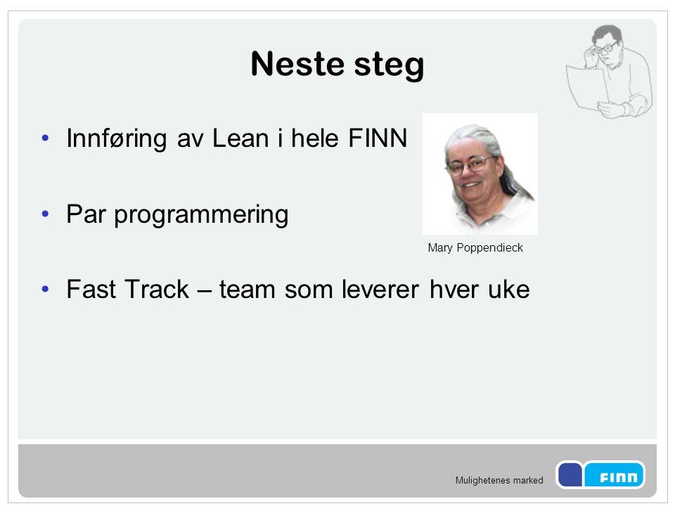 Mulighetenes marked Neste steg Innføring av Lean i hele FINN Par programmering Fast Track – team som leverer hver uke Mary Poppendieck