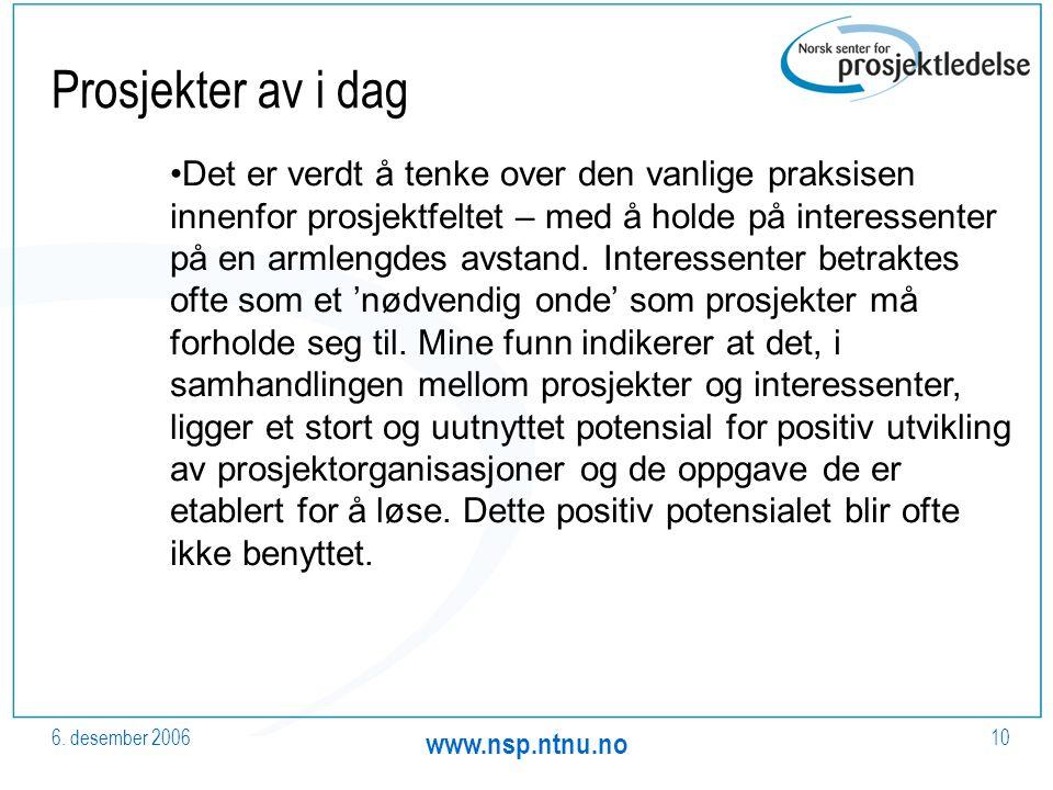6. desember 2006 www.nsp.ntnu.no 10 Prosjekter av i dag Det er verdt å tenke over den vanlige praksisen innenfor prosjektfeltet – med å holde på inter