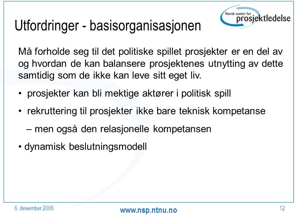 6. desember 2006 www.nsp.ntnu.no 12 Utfordringer - basisorganisasjonen Må forholde seg til det politiske spillet prosjekter er en del av og hvordan de