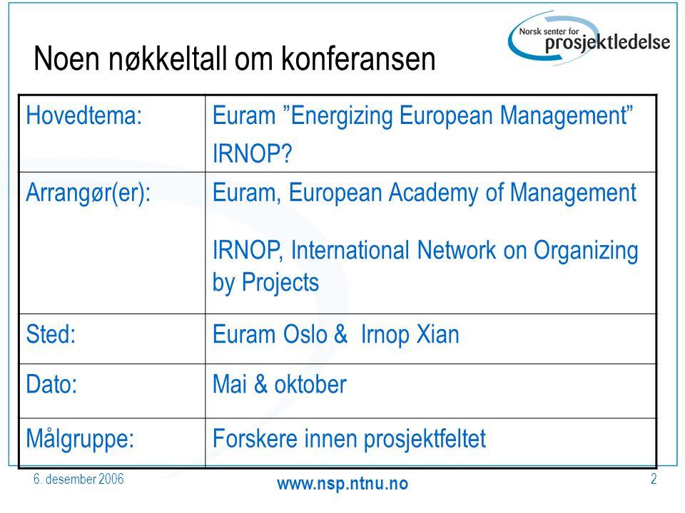"""6. desember 2006 www.nsp.ntnu.no 2 Noen nøkkeltall om konferansen Hovedtema:Euram """"Energizing European Management"""" IRNOP? Arrangør(er):Euram, European"""