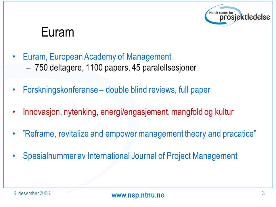 6. desember 2006 www.nsp.ntnu.no 3 Euram Euram, European Academy of Management –750 deltagere, 1100 papers, 45 paralellsesjoner Forskningskonferanse –
