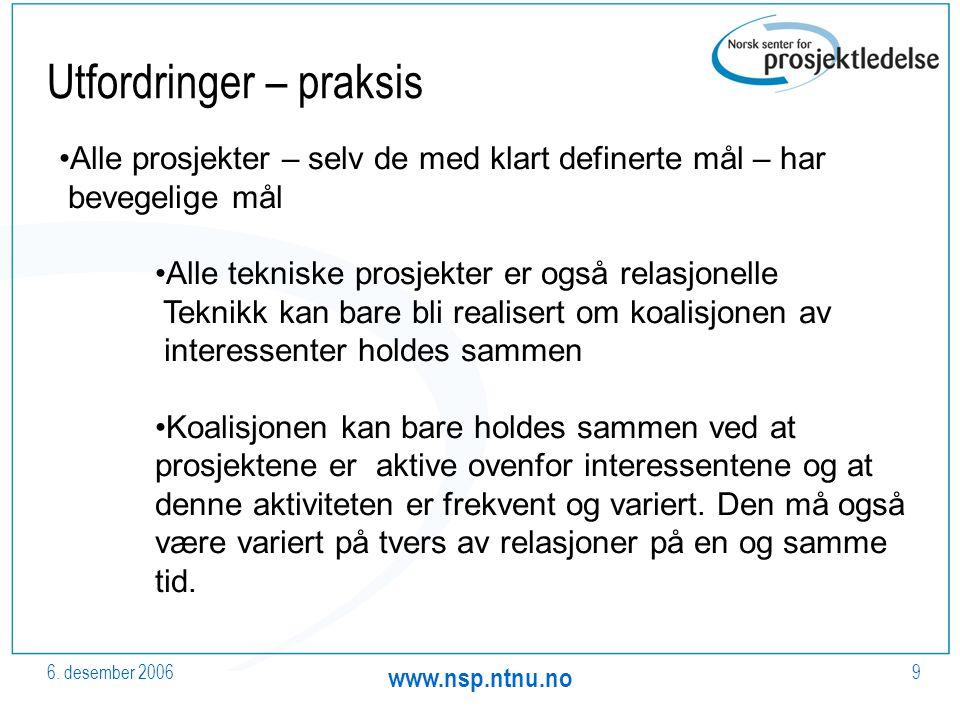 6. desember 2006 www.nsp.ntnu.no 9 Utfordringer – praksis Alle prosjekter – selv de med klart definerte mål – har bevegelige mål Alle tekniske prosjek